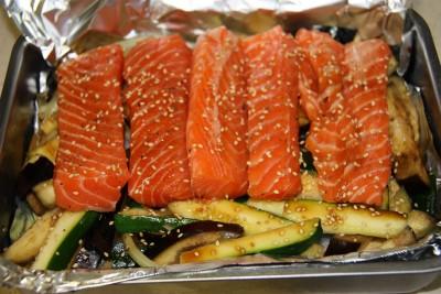 salmon verduras